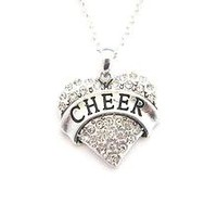 Cheer Cheerleading Silver Chain Necklace Clear Crystal Heart Jewelry