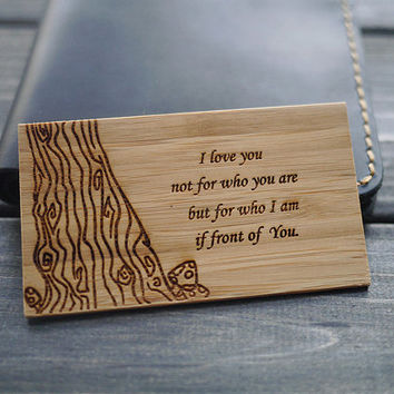 Anniversary Gift for Men - Personalized Handmade Wallet Card - Engraved Wallet Card for Valentine's, Anniversary, Wedding, Groom's Gift