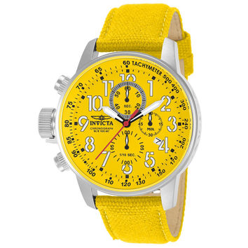 Invicta 11524 Men's I Force Lefty Yellow Dial Yellow Canvas and Leather Strap Chronograph Stainless Steel Watch