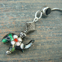 Lucky elephant belly ring BLACK cloisonne sacred elephant belly dancer zen yoga boho hipster fantasy  tribal fusion style
