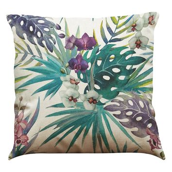 African Tropical Plants Pillow Cover Linen Printed Throw Pillow Covers Pillowcases Cushion Decorative for Rome Office Seat