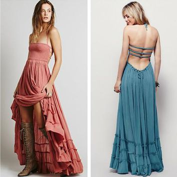 free people fashion solid color sleeveless backless hollow halter irregular ruffle maxi dress