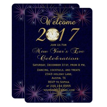 Festive Gold New Year's Eve Celebration Invitation