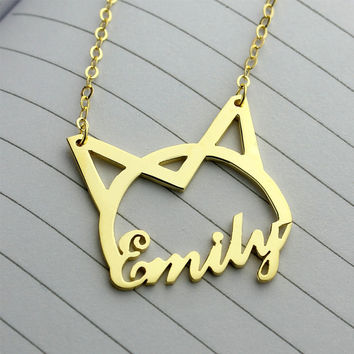 Personalized cat necklace, cat necklace, custom cat necklace, nameplate necklace, 18K gold plated,It can be up to 8 characters(Any letter)