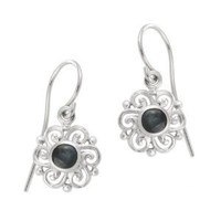 Sterling Silver Sapphire Round Celtic Drop Earrings