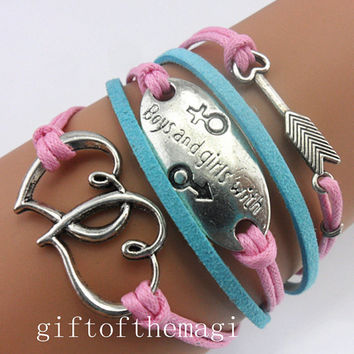 double heart,boys and girls with,&arrows charm Bracelet Antique silver--wax cords cotton ropes bracelet--friendship gift 789