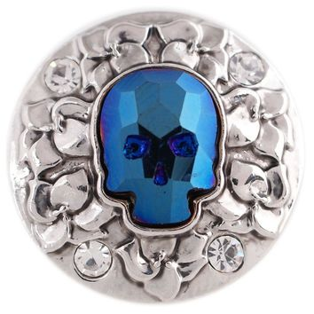 """Chunk Snap Charm Bling Faceted Blue Crystal Clear Rhinestones Skull 20mm 3/4"""" Diameter"""