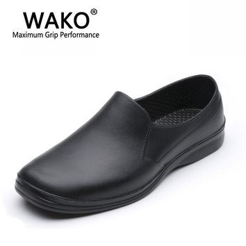 WAKO 9021 Man Chef Shoes Non-skid Hospital Safety Work Shoes Casual Shoes Black Kitchen Shoes Skid Resistance Sandals Size 39-44