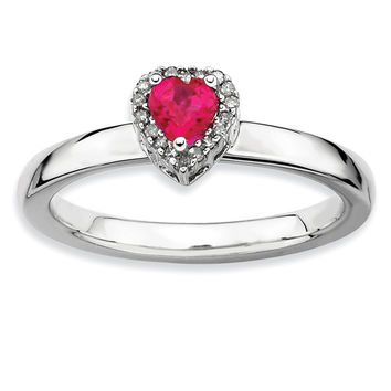 925 Sterling Silver Synthetic Created Ruby and Diamond Halo Heart Ring: Size: 8