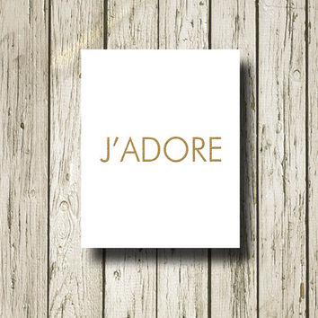 J'ADORE DIOR Golden Cool White Print Poster Printable Instant Download Digital Art Wall Art Home Decor G068w