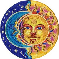 Applique Moon and Sun Half Blue and Half Yellow Patch