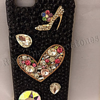 iPhone 6 cell phone case, high heels, alloy hearts, alloy heels , Ransdell's Rhinestones iPhone 6 case, gems, black cell phone case