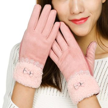 REALBY Womens Gloves Winter Gants Femme Lace Decoration Hand Warmer Wrist Gloves Ladies Suede Mittens Cotton High Quality Gloves