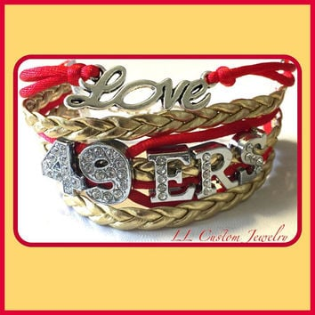 Multi-strand Love the 49ers Football Rhinestone letters Bracelet with a Charm of your choice from the picture of charms.  You can Customize.