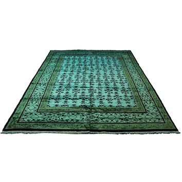8x10 Overdyed Turquoise Green Floral Deco Wool Rug 2871