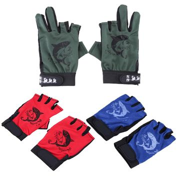1 Pair Anti-slip Half Finger Fishing Gloves Breathable Sports Mittens Breathable Net Fabric Outdoor Camping Cycling Gloves