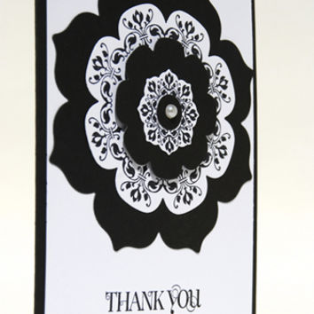 Exuding Class With Black White Floral Design Handmade Thank You Card
