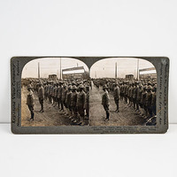 Keystone Stereoview WWI Colored Regiment at a Train Station En Route to France