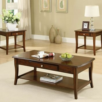 A.M.B. Furniture & Design :: Living room furniture :: Coffee table sets :: 3 Pc. Lincoln Park Transitional Style Dark Oak Wood Finish Coffee Table Set