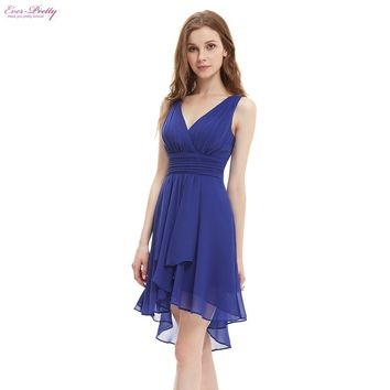Ruffles Padded V-neck High Low Bridesmaid Dress - Blue, Rose, Purple, Yellow
