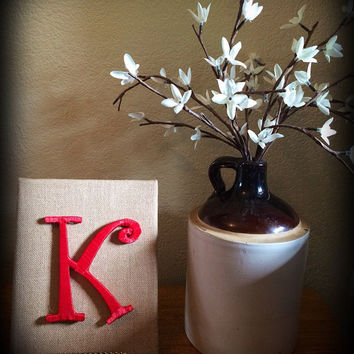 Burlap Decor-Handcrafted Monogram in Burlap Frame by Tightly Wound Designs