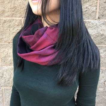 Handmade Reiki Infused Plum & Black Plaid Mix Infinity Scarf
