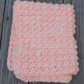 Creamsicle Crochet Baby Blanket, Gender Neutral, Double Strand, Car Seat Cover, Stroller Blanket, Textured Photo Prop