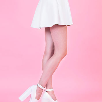 white faux leather skater skirt from loveclothing
