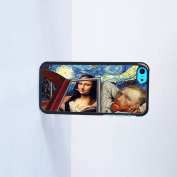 Mona Lisa and Van Gogh Smoking Plastic Case Cover for Apple iPhone 5C 6 Plus 6 5S 5 4 4s