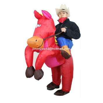 2017 Purim Halloween Costumes for Adult Man Woman Outfits Inflatable Cowboy Rider On Horse Costumes Cosplay Fancy Dress Outfits