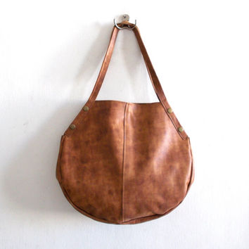 Tan brown  leather bag -  hobo bag - Every day bag - Women shoulder Bag