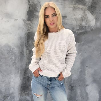 Let's Get Cozy Knit Sweater in Stone