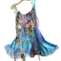 Unique Beautiful Cotton Tunic/Dress with Silk Art to Wear BLUE OCEAN Gipsy Hippi Antique Tribal Boho Ruffle