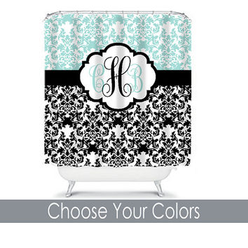 Damask SHOWER CURTAIN Aqua Black Custom MONOGRAM Personalized Bathroom Decor Damask Bathroom Beach Towel Plush Bath Mat Made in Usa