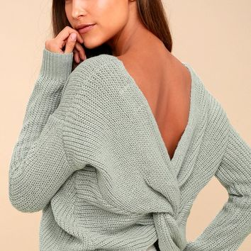 Jayda Sage Green Knit Sweater