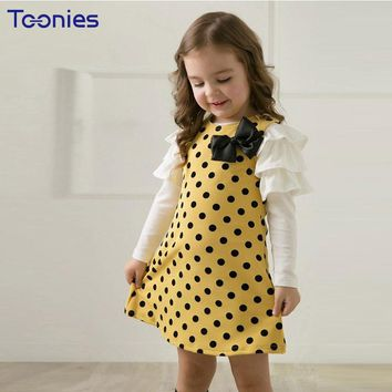 2018 New Autumn Long Sleeve Bow Girls Dress Girls Clothing Polka Dot Cute Princess Baby Girl Dress Kids Clothes Infant Dress