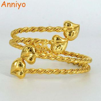PEAPIJ6 Anniyo Gold Color Ethiopian Bangle for Women Heart Dubai Bracelet Jewelry African Arab Accessories Gifts #061006