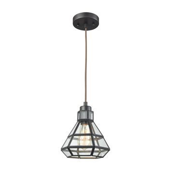 57126/1 Window Pane 1 Light Pendant In Oil Rubbed Bronze With Clear Glass