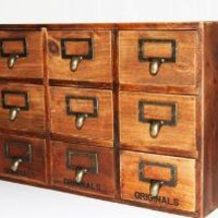 Vintage 9drawers Wooden  Box FREE shipping by ZakkaAroundTheWorld