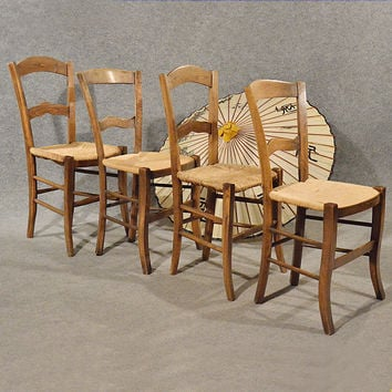Antique French Chairs x 4 Kitchen Dining Country Quality Beech & Rush Seat c1900