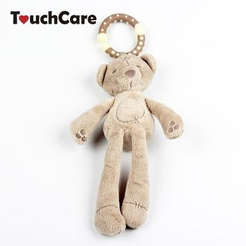Infant Cute Cartoon Rabbit Bear Rattle Cotton Soft Baby Bed Stroller Hanging Bell Plush Toy Doll Musical Mobile Wind Chimes Toys