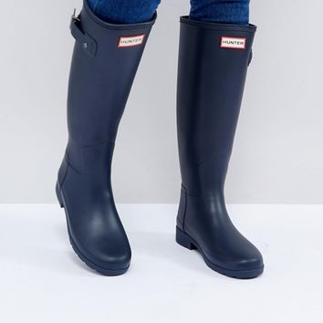 Hunter Original Refined Tall Navy Wellington Boots at asos.com