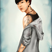 Tattooed Bambam (GOT7) - digital art Art Print by Drawyourmark | Society6