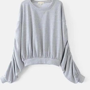 Autumn Women Puff Sleeve Sweatshirt Solid Color O Neck Casual Pullover