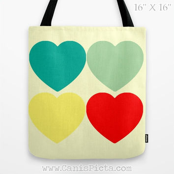 Modern Bright Hearts Tote Bag Television Yellow Red Teal Mint Mod Fun Gift Her Pastel Grocery School Supplies Craft Knitting Yarn Handbag
