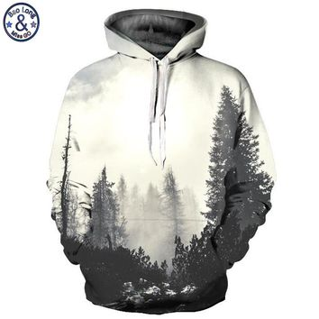 Mr.BaoLong Brand Men's pullover hooded hoodies new fashion Magical forest 3D printed drawstring hooded sweatshirt man QL211