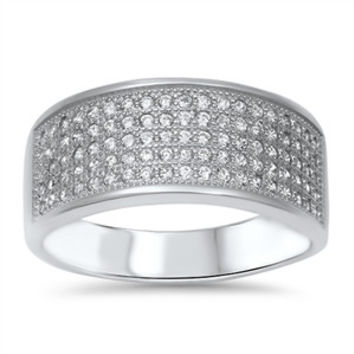 925 Sterling Silver CZ Five Pave Rows Ring 9MM