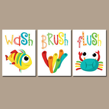 Kid BATHROOM Wall Art, CANVAS Or Prints Crab Fish Bathroom Artwork, Child Bathroom  Decor