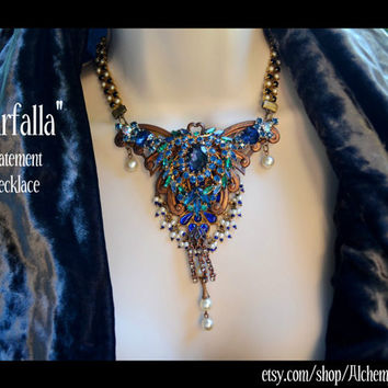 Butterfly, Statement Necklace, Vintage Filigree, Brooch, Rhinestones, Pearls, Art Nouveau