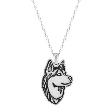 QIAMNI 1pcs Dainty Handmade Siberian Husky Dog Puppy Pet Lovers Animal Unique Necklaces & Pendants Gift for Women and Girls